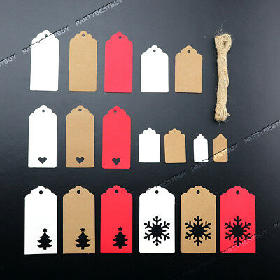50/100 Kraft Paper Gift Tags Scallop Label Luggage Christmas Wedding UK Seller