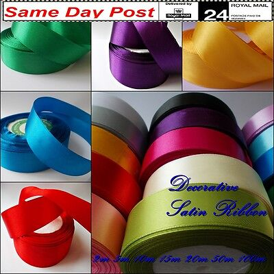Glossy Soft SATIN RIBBON for Decoration Gift Wrapping 25mm wide Party Crafts