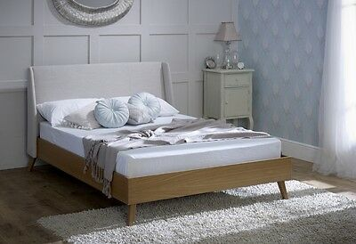 New Ansa American Oak / Fabric Bed Frame In 3 Sizes 4`6, 5`0 & 6`0