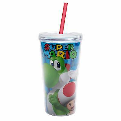 Nintendo Super Mario TUMBLER with Straw 16 Oz. BPA Free Licensed Travel cup mug