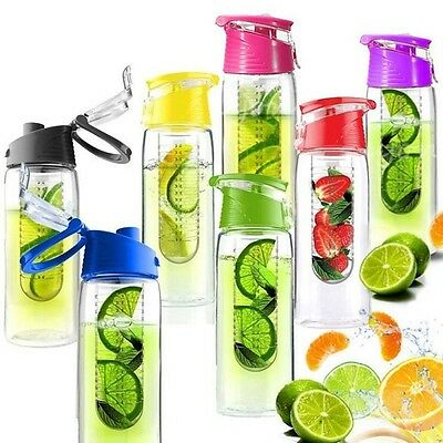 Flip Lid Fruit Infuser Bottle 700ml BPA Free Sports Infusing Infusion Juice 24oz