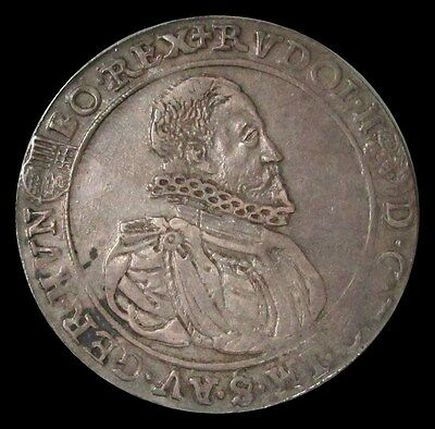 1599 Kb Silver Hungary Thaler Rudolph Ii Coin Extra Fine