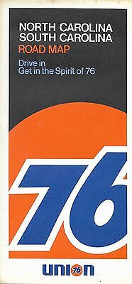 1972 UNION 76 Road Map NORTH & SOUTH CAROLINA Charleston Charlotte Rand McNally