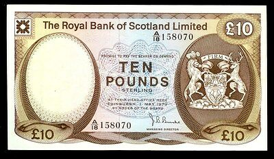 1972 SCOTLAND LIMITED ROYAL BANK 10 POUNDS GLAMIS CASTLE NOTE P# 338a XF