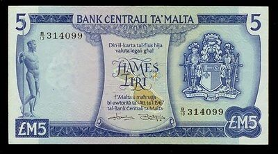 1973 Central Bank Of Malta 5 Pounds Note P32A -Xf