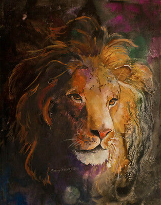 Jungle Lion LION 8x10 Art Print by Sherry Shipley