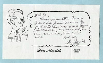 DON MESSICK signed handwritten letter (Hanna-Barbera) voice actor of Scooby-Doo