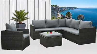 lounge set nizza wei grau polyrattan sitzgarnitur garten. Black Bedroom Furniture Sets. Home Design Ideas