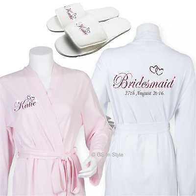 Personalised Luxury Cotton Wedding Robe Dressing Gown Bride Bridal Slippers