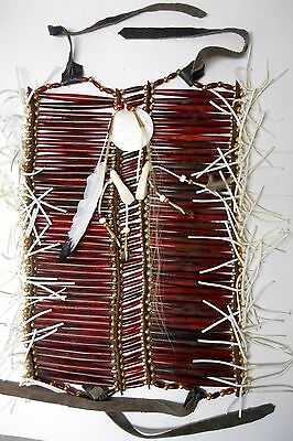 Native American Navajo 40 row Buffalo Bone Breast Plate BURGUNDY Breastplate