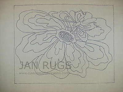 Rug Hooking Pattern on Monks Cloth Butterfly Flower