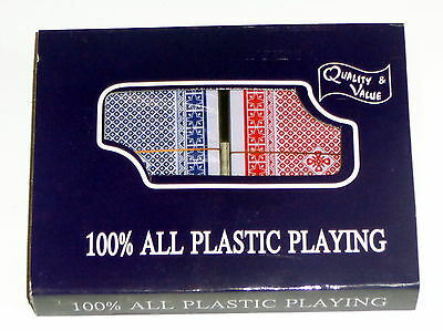 New Twin Sealed Decks 100% Plastic Washable Playing Cards Red & Blue Deck Poker