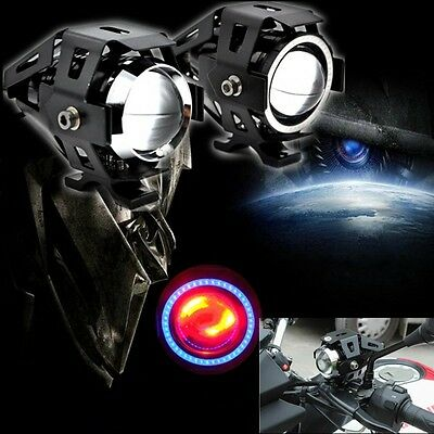 2 PCS Black U5 125W Motorcycle LED Headlight Driving Fog Spot Light Lamp BST