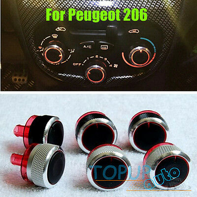 3Pcs Fit For Peugeot 206 207 C2 Switch Knob Heater Buttons Dials A/c Cover Heat