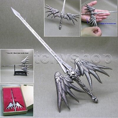 "9"" Letter Opener PEWTER Moving Wings Fantasy Myth Sword include Stand and Box 01"