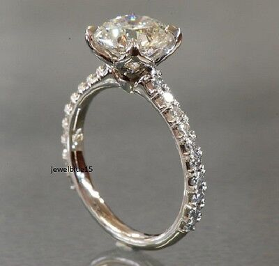 7.50mm Off White Yellow Moissanite Halo Engagement 925 Ring Sterling Silver ring