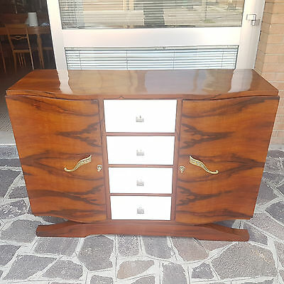 Rare Small Art Deco Sideboard 1930 Walnut And Parchment