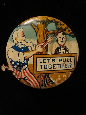 World War II Americana Anti-Nazi Political Pin Hang Hitler Propaganda