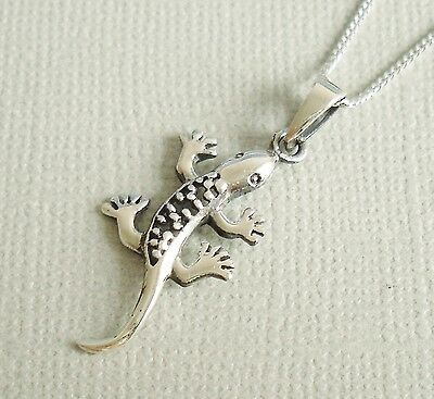 925 Solid Sterling Silver Lizard Gecko Pendant Necklace With Chain