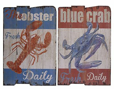 2 BILDER 60x40CM -HOLZBILER- HOLZTAFEL -Blue Crab Daily -LOBSTER DAILY