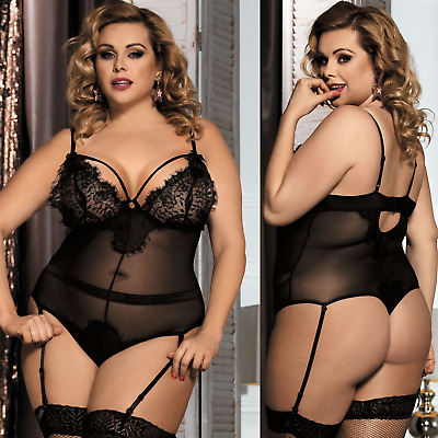Plus Size Sexy Womens Lace Sleepwear G-String Lingerie Underwear Dress Babydoll