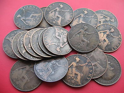 BULK LOT OF 20 x KING GEORGE V 1912 PENNIES ALL 'H' HEATON MINT *COLLECT RESALE*
