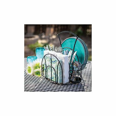 Giftburg Picnic Caddy 3-Piece Cutlery Spoons Plate Holder Decorative Party Set
