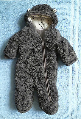 Baby clothes BOY 3-6m charcoal grey fleece, cotton-lined snowsuit/pramsuit F&F
