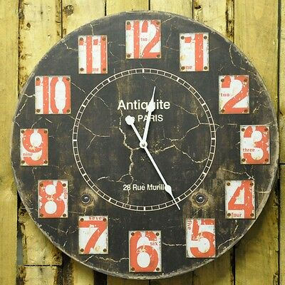 Large Round Paris Wall Clock Shabby Chic 58cm diameter