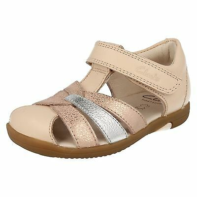 38a316c7372 Clarks Girls Softly Mae Fst Rose Gold Leather T-Bar Sandals F   G Fittings