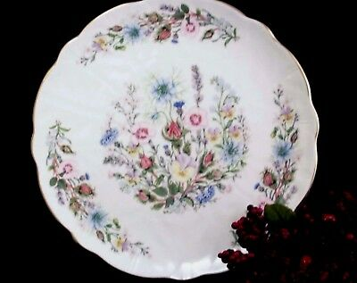 """AYNSLEY Wild Tudor Pedestal CAKE PLATE 10 3/8""""d Mint  Buy Now INVENTORY MARKDOWN"""