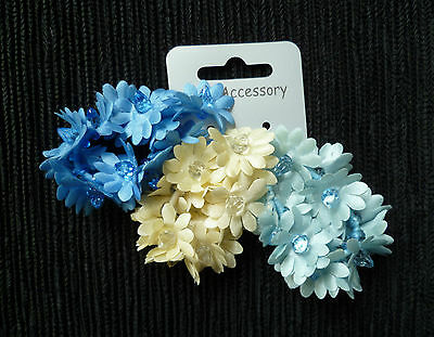 Hair accessories kids 3 years+ 3 multi-flower stretch bands ponytail/bun blue