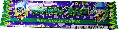Bulk Lot 30 x Wicked Fizz Chews Grape Candy Sweets Kids Lollies Party Favors