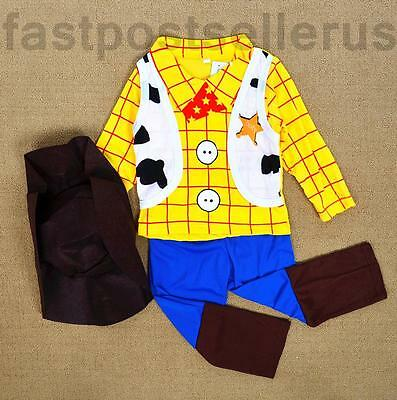 Toy Story Woody Boys Kids Costume Set Halloween Party Fancy Dress Up Cosplay