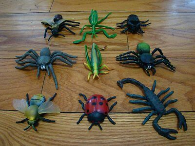 Vintage 1994 Hard Rubber Bugs Insects Toy Figures Lot of 9