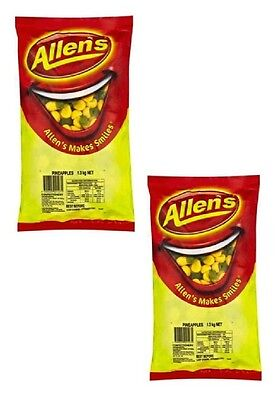 Bulk Lot 2.6kg x Allens Pineapples Bag Party Candy Buffet Lollies Sweets Treats