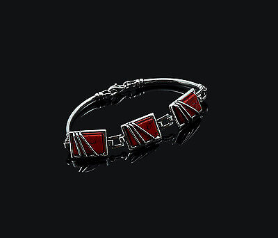 Genuine Sterling 925 Silver Ladies Women's Handmade Bracelet Red Coral Gift Box