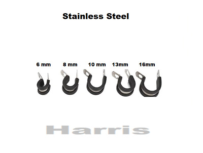 Rubber Lined P Clips Stainless Steel **Choose Your Size And Pack**