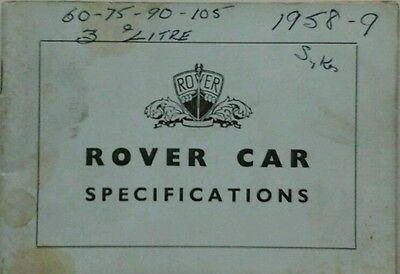 Rover P4  60, 75, 90, 105 & P5  3 litre Specifications Guide - October 1961