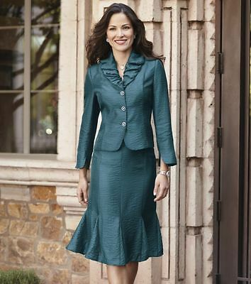 Shimmer Scrunch Collar Suit Teal Skirt NEW NWT size 16W PLUS