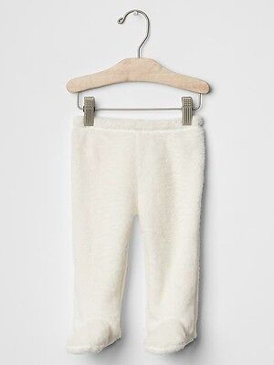 GAP Baby Girls / Boys Size 0-3 Months Ivory Sherpa / Furry Footed Leggings Pants