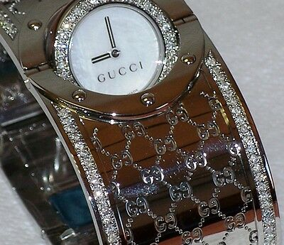fd6c2f74053 New Ladies Gucci wide twirl 1.74ct.aprx.custom set real Diamond Watch  YA112413
