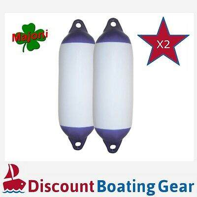 2 x Inflatable Boat Fender 450mm x 120mm Blue Tip Heavy Duty Marine Bumpers