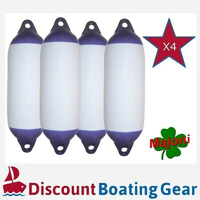 4x MAJONI Blue Tip Marine Fender 450mm x 120mm for Boat and Fish