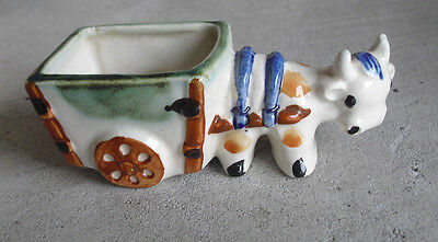 Vintage 1940s Occupied Japan Ceramic Cow with Cart Figural Toothpick Holder