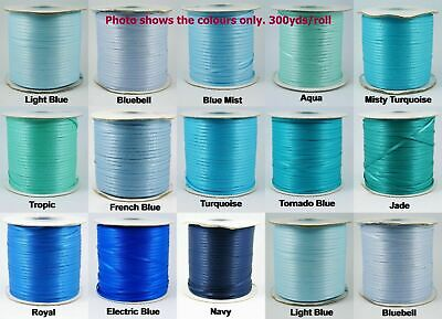 10yds~~3mm Double Face Satin Ribbon 8 COLOURS U PICK - Blue/Aqua/Jade/Navy/