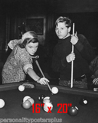 "Judy Garland~Mickey Rooney~Shooting Pool~Playing Pool~Billiards~16"" x 20"" Photo"