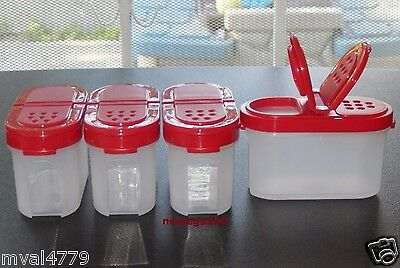 Tupperware New Small Spice Containers Set of 4 in Passion Color
