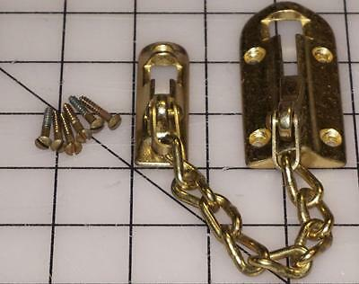 Vintage Security chain lock night door guard brass on cast iron