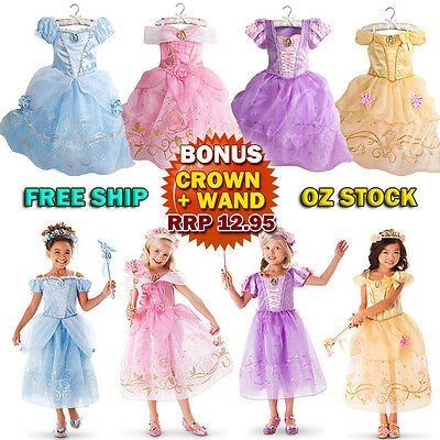 Kids Girls Princess Costume Fairytale Dress Up Belle Cinderella Aurora Rapunzel